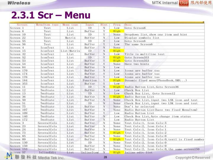 2.3.1 Scr – Menu