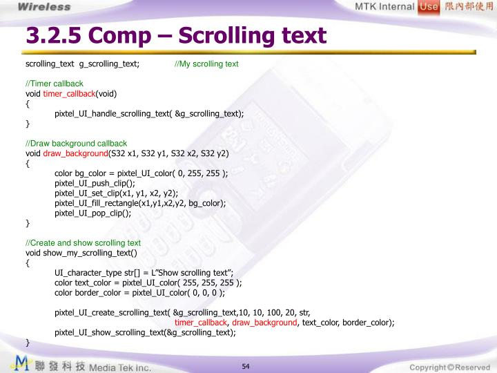 3.2.5 Comp – Scrolling text