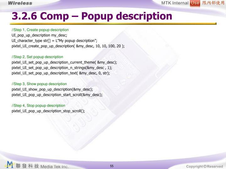3.2.6 Comp – Popup description