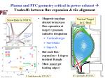 plasma and pfc geometry critical in power exhaust tradeoffs between flux expansion tile alignment