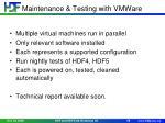 maintenance testing with vmware
