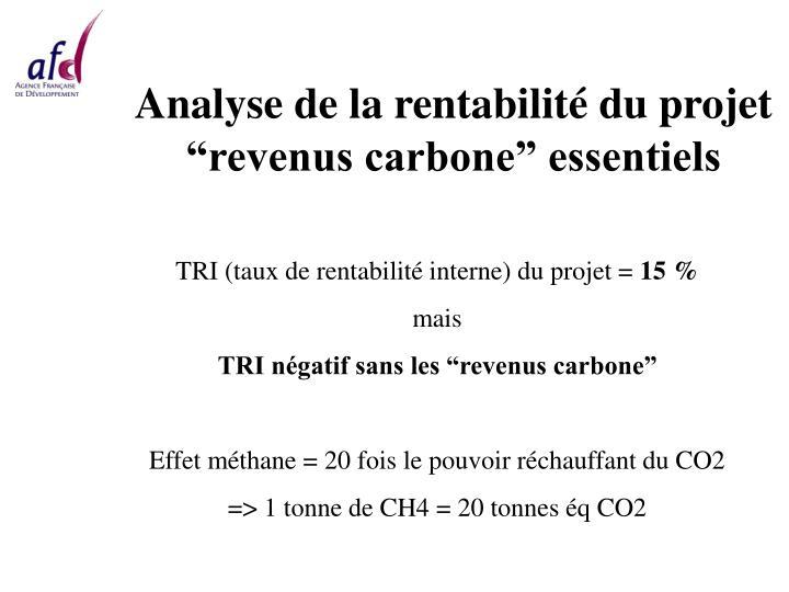 Analyse de la rentabilité du projet