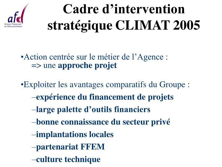 Cadre d intervention strat gique climat 2005