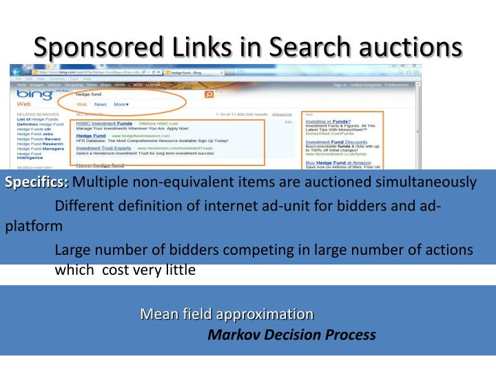 Sponsored links in search auctions