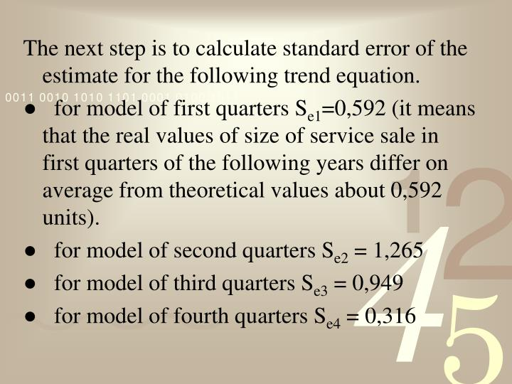 The next step is to calculate standard
