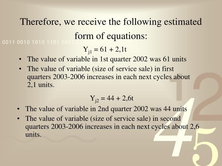 Therefore, we receive the following estimated form of equations: