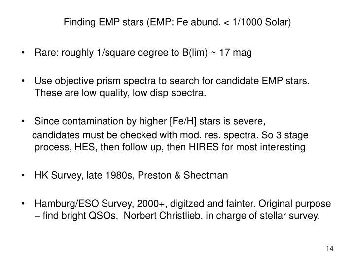 Finding EMP stars (EMP: Fe abund. < 1/1000 Solar)