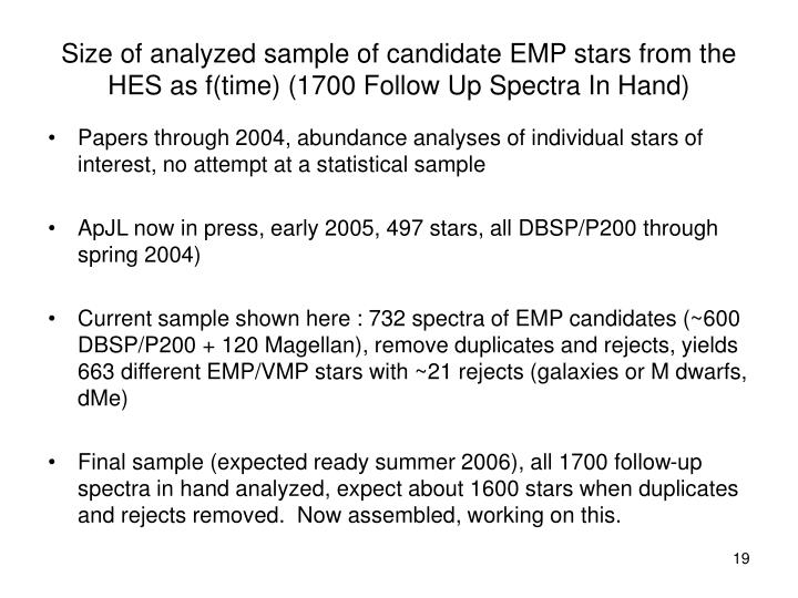 Size of analyzed sample of candidate EMP stars from the HES as f(time) (1700 Follow Up Spectra In Hand)