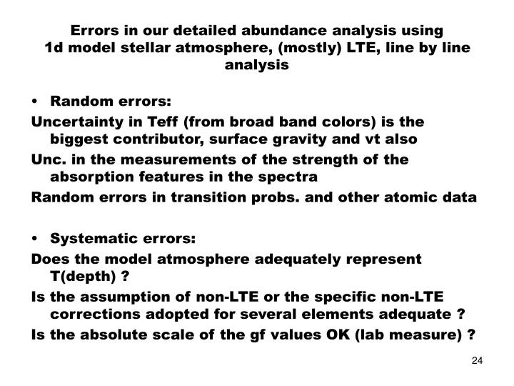 Errors in our detailed abundance analysis using