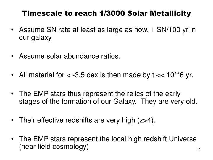 Timescale to reach 1/3000 Solar Metallicity