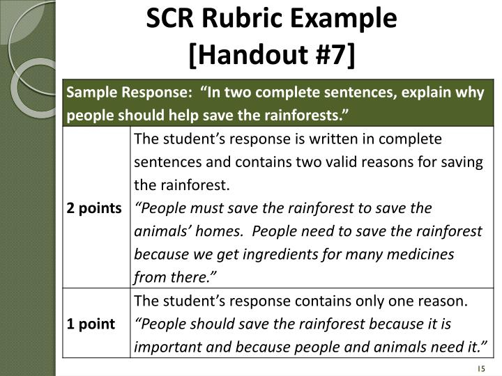 SCR Rubric Example