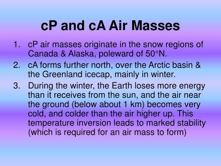 cP and cA Air Masses