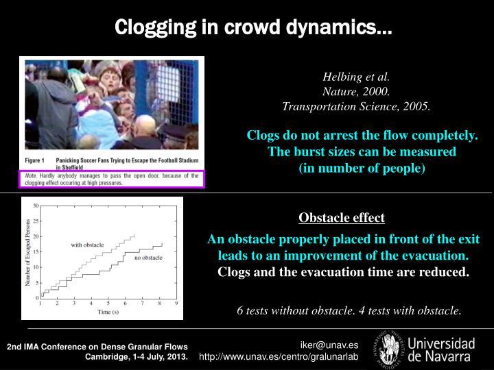 Clogging in crowd dynamics…