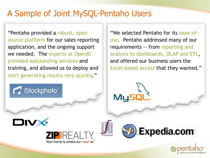 A Sample of Joint MySQL-Pentaho Users