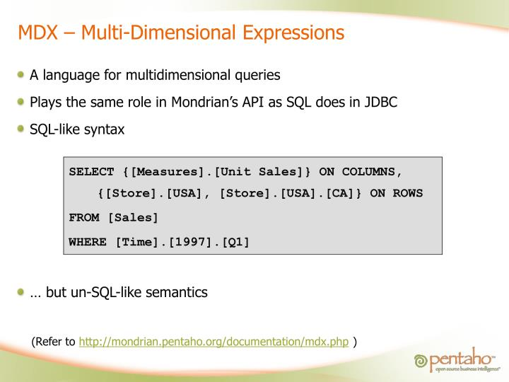 MDX – Multi-Dimensional Expressions