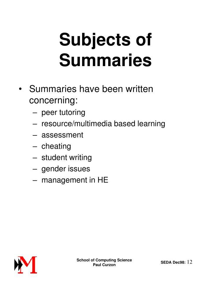 Subjects of Summaries