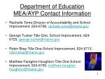 department of education mea ayp contact information