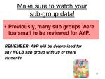 make sure to watch your sub group data