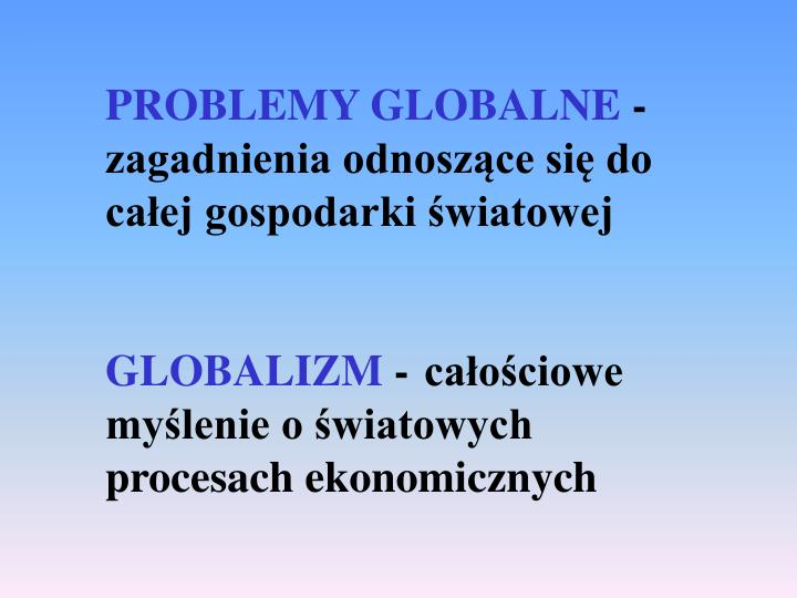 PROBLEMY GLOBALNE