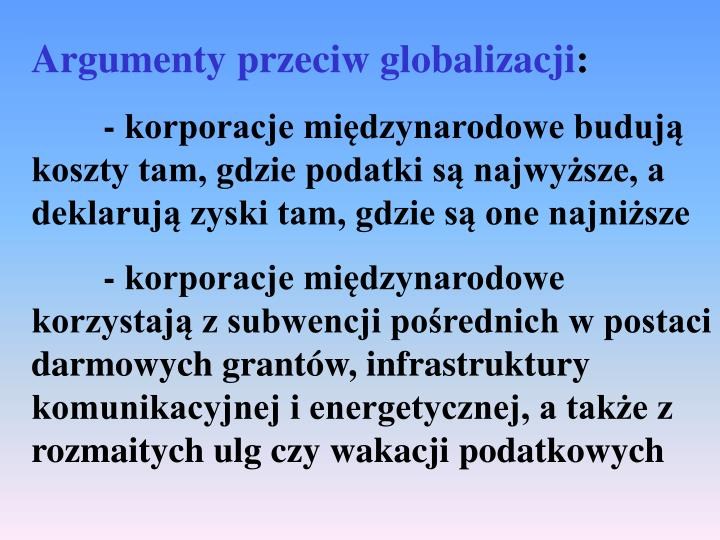 Argumenty przeciw globalizacji