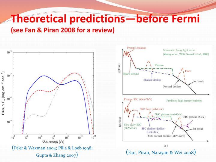 Theoretical predictions—before Fermi