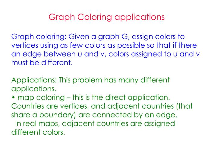 Graph Coloring applications