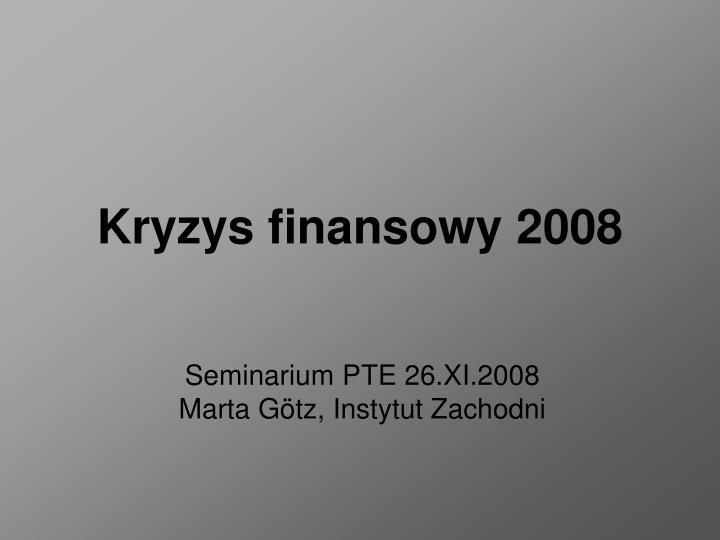 Kryzys finansowy 2008