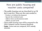 how are public housing and voucher costs compared