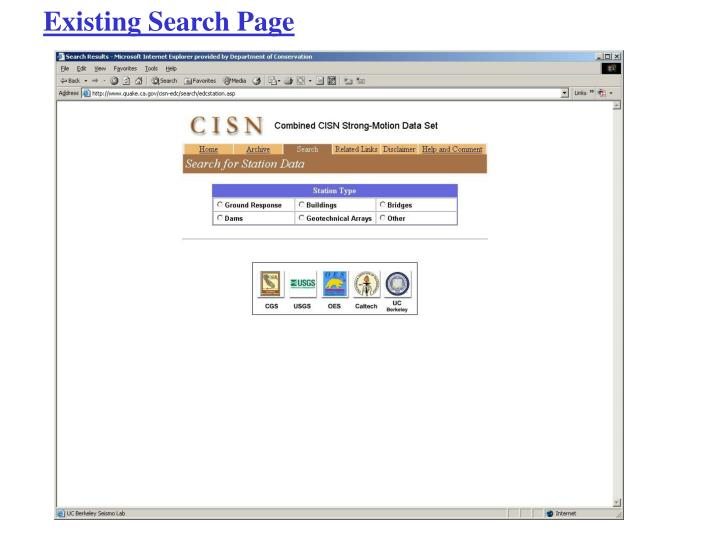 Existing Search Page