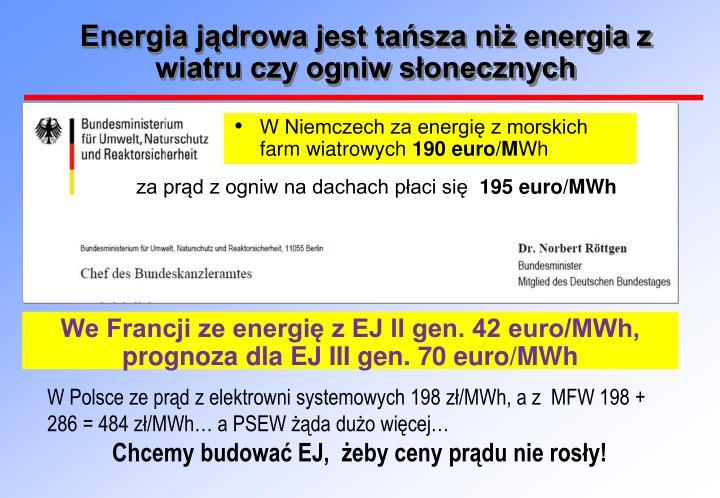 Energia jądrowa jest tańsza niż energia z wiatru czy ogniw słonecznych