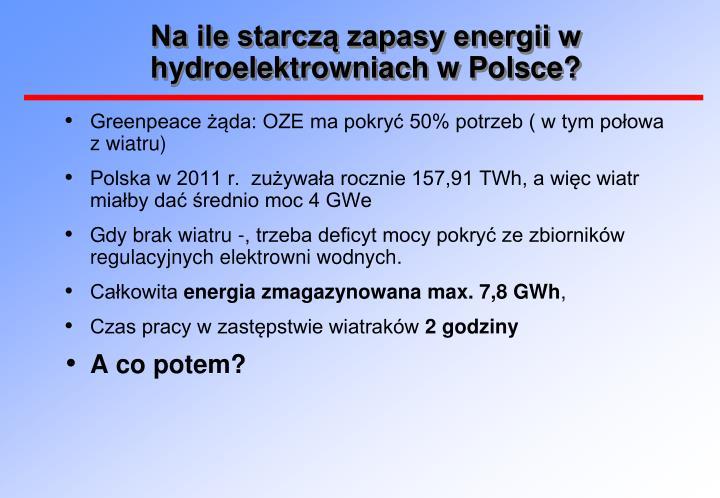 Na ile starczą zapasy energii w hydroelektrowniach w Polsce?
