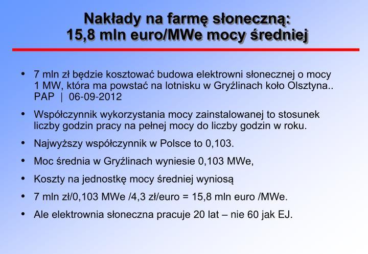 Nakłady na farmę słoneczną: