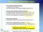 physics topics and observables