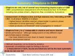 summary dileptons in cbm