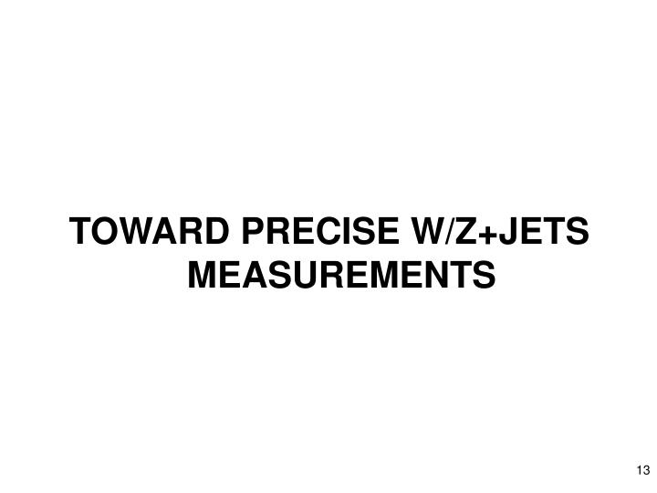 TOWARD PRECISE W/Z+JETS MEASUREMENTS