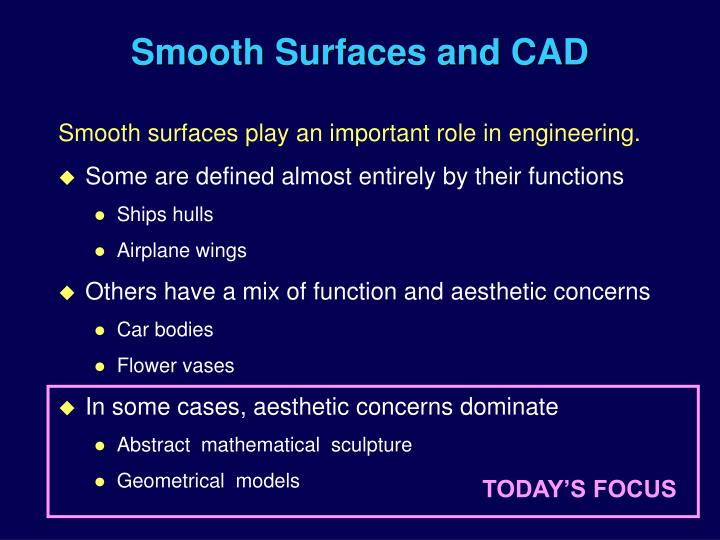 Smooth surfaces and cad