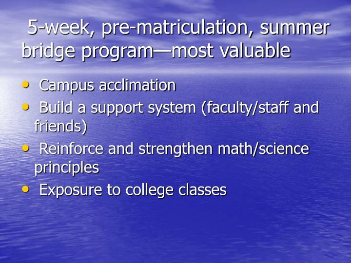 5-week, pre-matriculation, summer bridge program—most valuable