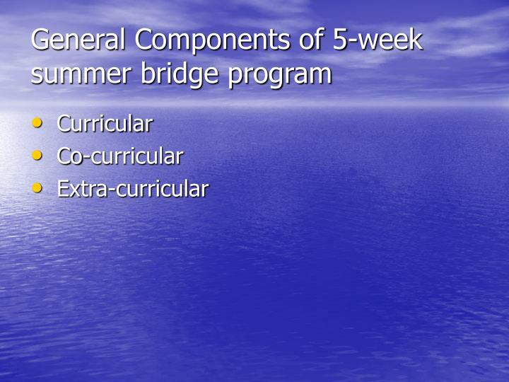 General Components of 5-week summer bridge program