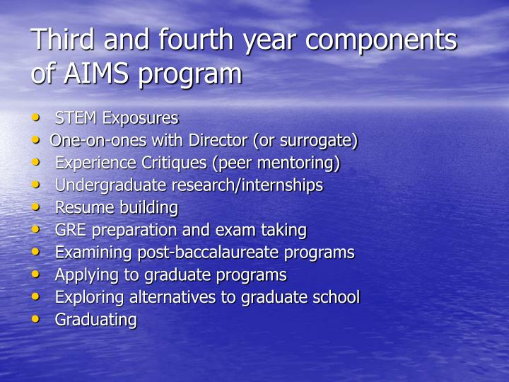 Third and fourth year components of AIMS program