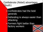 confederate rebel advantages south