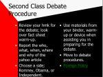 second class debate procedure