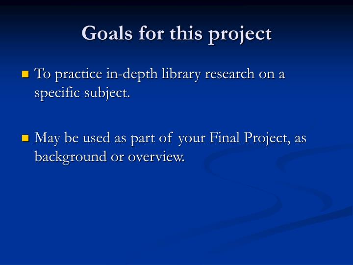 Goals for this project