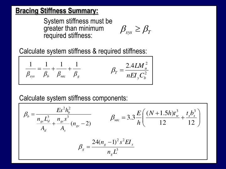 Bracing Stiffness Summary: