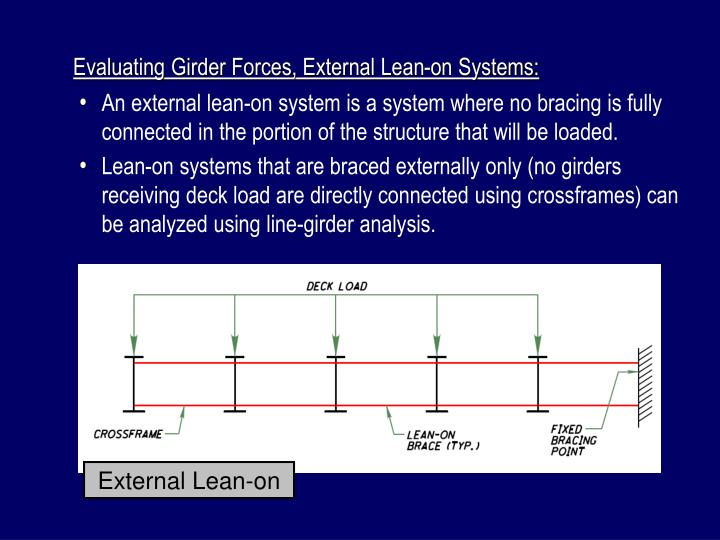 Evaluating Girder Forces, External Lean-on Systems: