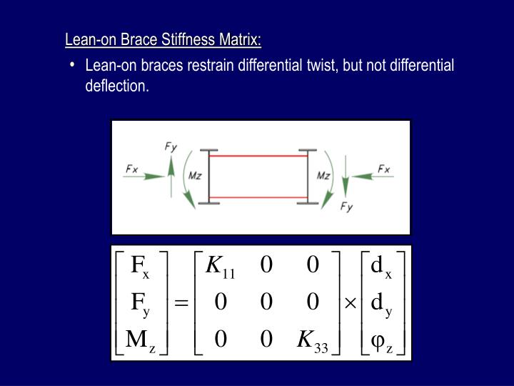 Lean-on Brace Stiffness Matrix: