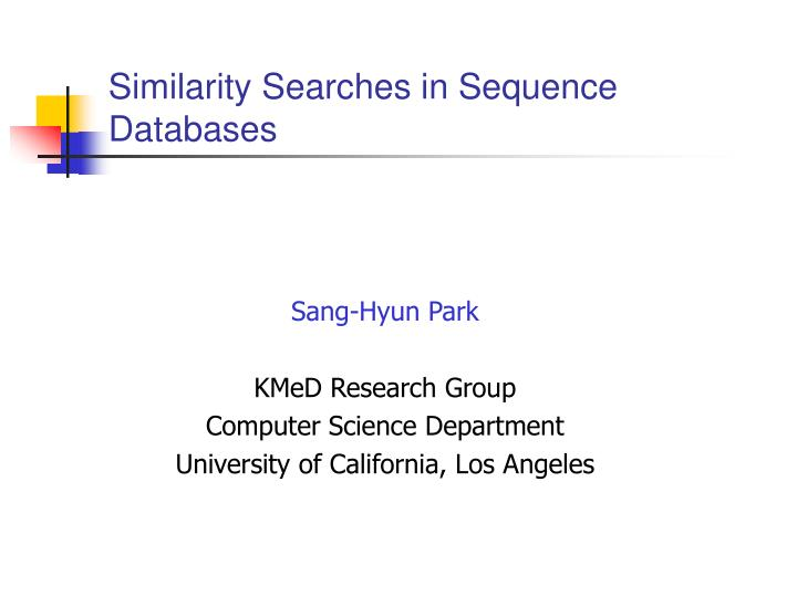 similarity searches in sequence databases n.