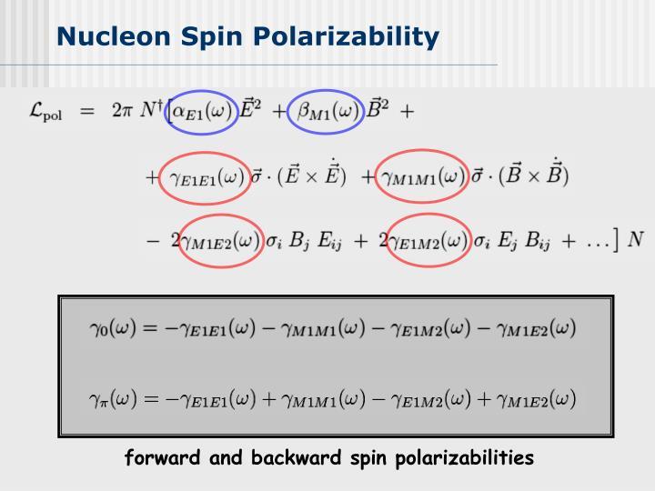 forward and backward spin polarizabilities