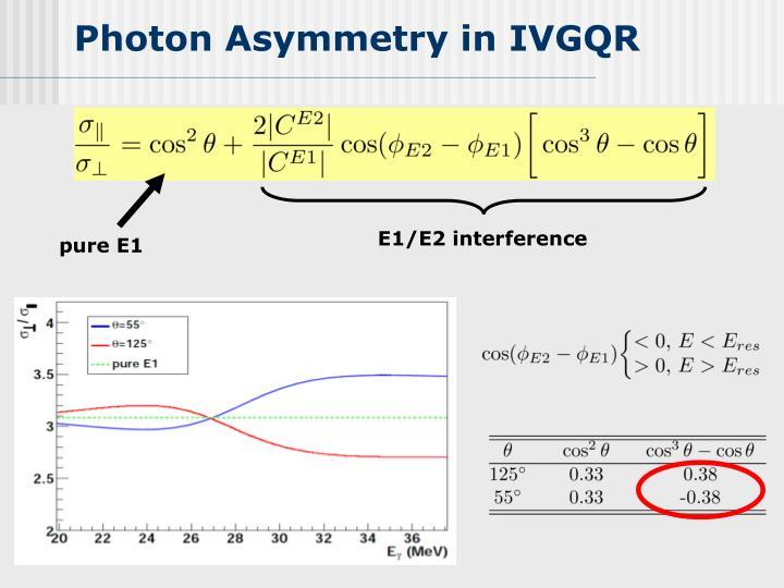 Photon Asymmetry in IVGQR
