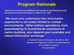 program rationale
