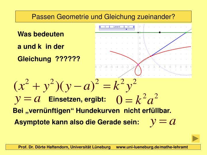 Passen Geometrie und Gleichung zueinander?
